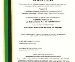 Certyfikat Zakładowej Kontroli Produkcji Kruszyw dla Piaskarni Wilanów