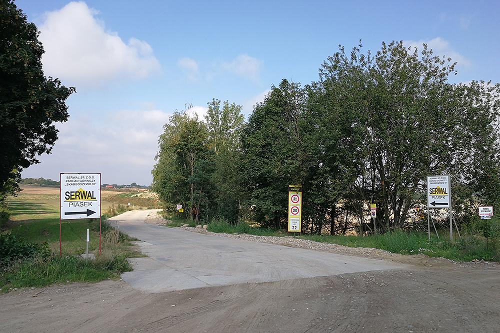 wjazd do kopalni piasku i żwiru Skarboszewo